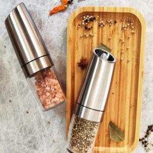 Gravity Salt & Pepper Mill Set + Holder