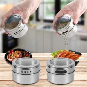 Magnetic Spice Jars (Wall Rack)