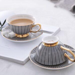 Luxurious Bone China Teacup Set- Black & Gold