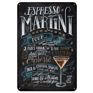 Bar Decor Metal Cocktail Signs (Set of 20)