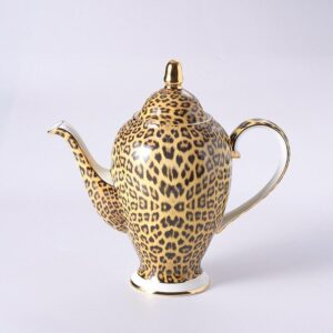 Luxurious Bone China Teacup Set- Leopard Print