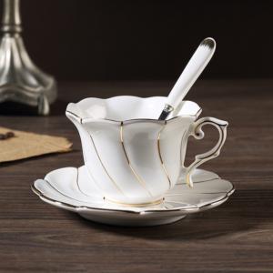 Luxurious Bone China Teacup Set- White & Gold Wave