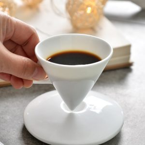 Conical Espresso Cup & Saucer (Bone China)